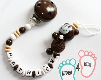 Pacifier - themed mixed monkey Brown - personalized with the name of your choice