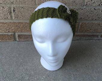 Olive green knit headband bow