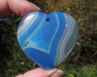 UNIQUE 1. HEART ONYX AGATE MULTICOLOR BLUE 45 X 44 X 6 MM PEARL PENDANT.