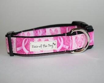Pink Ribbon and Heart DoG Collar