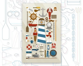 Nautical Collection Print - Ocean Art Poster - Sea Print - Lighthouse - Boat - Marine Decor - Knolling Print - Graphic Design Poster