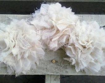 Shabby Chic Rosette SET OF 3, Frayed Fabric Flower for Shabby Chic Garlands, Headbands, Wedding Decor, DIY Craft, Shabby Fabric Flower