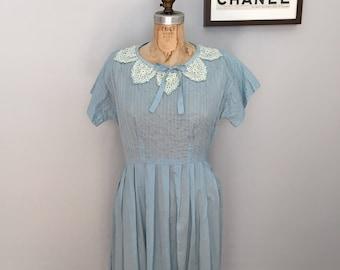 1950s Light Blue Cotton Daydress