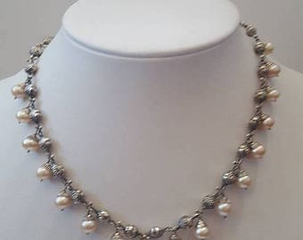 ON SALE Vintage Sterling Silver and Pearl Necklace