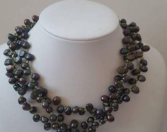ON SALE Vintage Unique Pearl and Bead Necklace with Silver Clasp