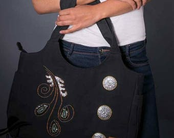 Woven beads and sequins fabric tote bag. Made in Haiti