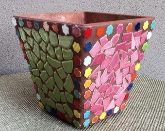 Handmade Mosaic Planter with Water Reservoir (pink & lime green)