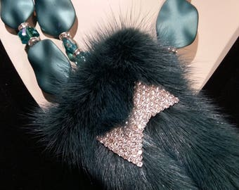 Teal Blue real mink tails,  fur necklace with rhinestone, crystal and resin beads, Absolute WOW Factor, Cocktail