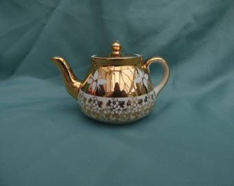 Gibsons, Gold Lustre and Cream Teapot, Staffordshire, England