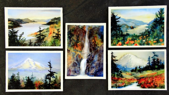 Columbia Gorge Magnets #2 - Bonnie White watercolor prints turned into five signed 2 1/2 x 3 1/2 magnets