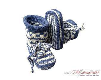 Eco cotton knitted baby boots baby socks blue white