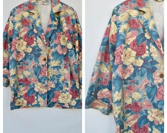oversized floral print blazer / large to extra large