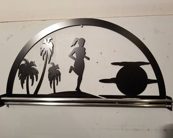 Lady Running by Palm Trees into the Sunset Medal Holder