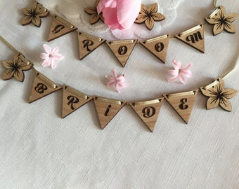 Personalised Wooden Mirror Small Bunting - Happy Birthday Bunting - Name Place Setting - Guest Seating - Wedding Hen Do Favours - Door Name