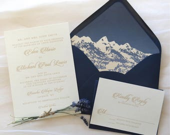 Mountain Wedding Invitation Suite - Mountain Lined Envelope - Navy and Champagne Wedding Invitations