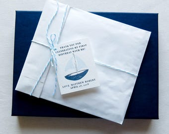 Printed Favor Tags - Personalized Favor Tags - Birthday Party Accessories - Navy Blue Sailboat