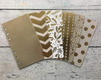 PERSONAL Sized Gold Foiled Dashboard and Dividers for Filofax, Kikki K, Day Planner, Franklin Covey, Gillio, Etc