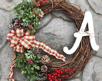 Christmas Wreath | Rustic Christmas wreath | Winter Wreath | Christmas door decor | Winter door decor | Monogram Wreath | Rustic Wreath