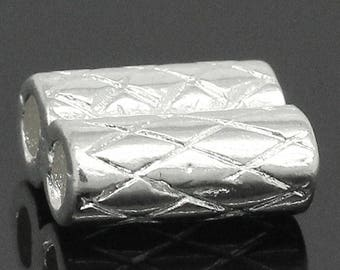 Set of 10 double or connector 10x8mm silver plated tube beads