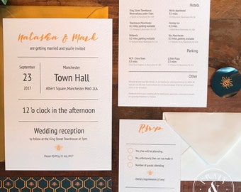 Manchester Worker Bee Geometric Themed Wedding Suite Invitation/RSVP/info card/envelopes/belly band