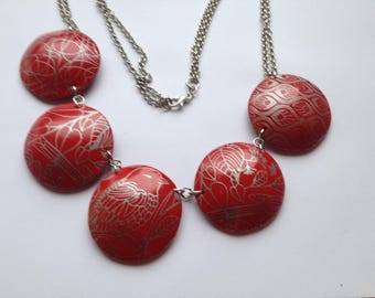 Red polymer clay necklace