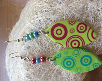 GREEN SCREEN PATTERN POLYMER CLAY DANGLE EARRINGS