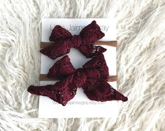 Sailor bows, burgundy lace, nylon band, hair clip
