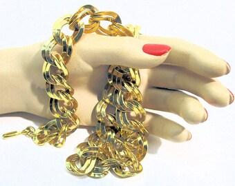 Vintage Monet Chunky Double Link Goldtone Necklace * N0003 designer signed RETRO!