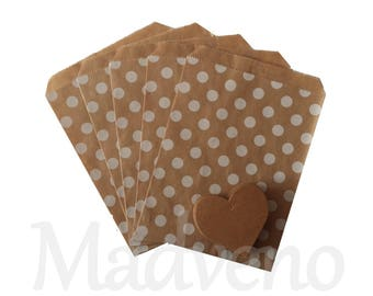 Set of 10 kraft dots paper bags