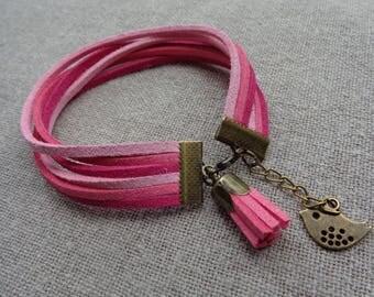 Bronze bracelet bird bracelet bronze bracelet suede cuff bracelet pink tassel bracelet