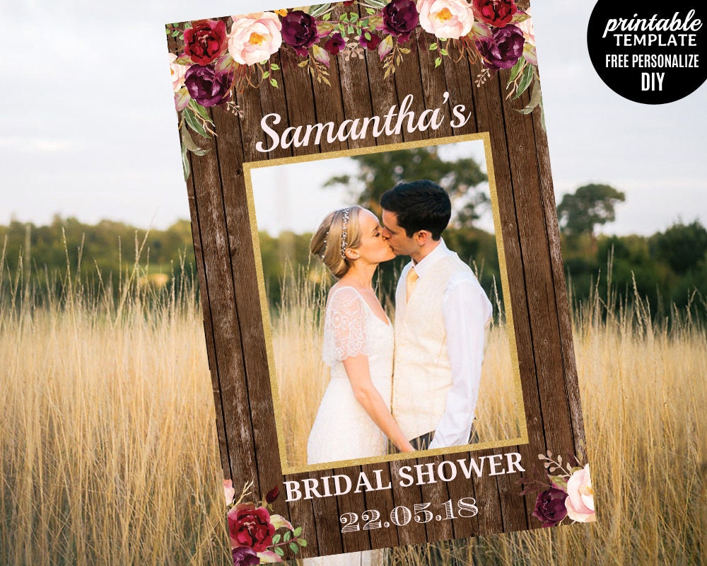 Rustic Photo Prop Frame Template. Printable Bridal Shower Photo Prop ...