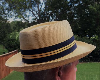 Size 7-3/8 Vintage Panama Straw Hat by Dobbs Fifth Ave. New York