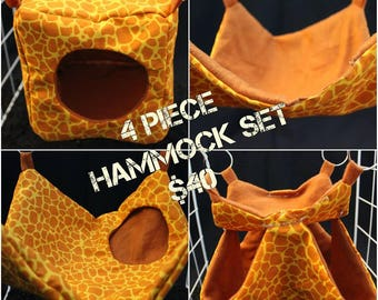 4 Piece Hammock Set Perfect for Rats, Chinchillas, Ferrets, and Sugar Gliders