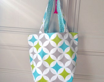 Bag / Tote / reversible Tote bag grey and lime green Argyle