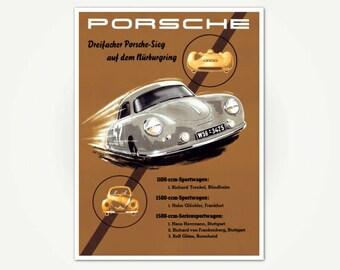 Porsche 356 Advertising Poster Print - Vintage Porsche Racing Poster Art - Audi - Volkswagen