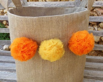 Empty basket Pocket xxl natural linen decorated with tassels, yellow and orange