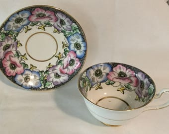 Vintage Colorful Floral Taylor & Kent Bone China Tea Cup and Saucer