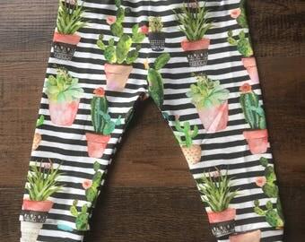 Cactus leggings, baby leggings, toddler leggings, baby joggers, baby pants, cactus baby leggings, cactus pants, succulent leggings