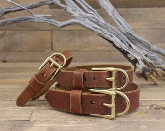 Cowboybrown collar, Dog collars, FREE ID TAG,Brown Collar, Solid brass , Handmade leather collar, Gold Hardware, Dog, Puppy collar, Small.