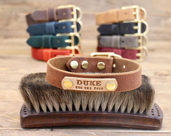 Dog collars, 1 inch collar, FREE ID TAG, leather collars, Personalised collar, Dog gift, Dog walk, Brass hardware, Colours collar, Handmade
