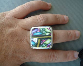 RING FIMO 28 MM TRAY SILVER
