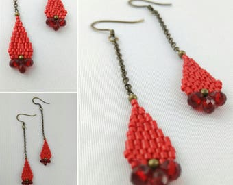 Dangle drop earrings red and bronze