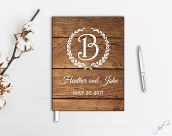 Rustic wedding guest book with monogram, Wooden wedding guest book, Barn Wedding Guestbook,Rustic Wedding Guest Book, Custom Guestbook