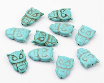 10 Synthetic Turquoise Owl Beads 30 x 20mm  (B255h)