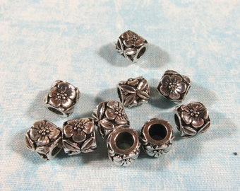 10 Antique Silver Flower Euro Style Charm Beads (B492L)