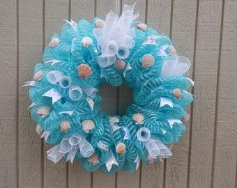 Beach Wreath, Seashell wreath, Summer Mesh Wreath, Ocean Wreath