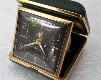 Alarm clock, travel clock by Westclox, vintage wind up travel alarm clock with luminous features. Birthday gift.