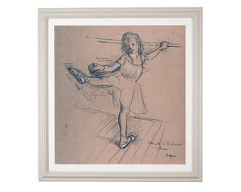 """Edgar Degas """"Little Girl Practicing at the Bar"""" 1879 Impressionist Black chalk and graphite drawing High Quality Print"""