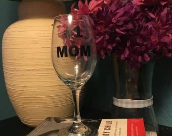 Shop Away Handmade #1 Mom Wine Glass