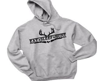 hunt hoodie, eat sleep hunt, hunting hoodie, hunting apparel, deer hunting, michigan apparel, deer hoodie, sportsman hoodie, mens gift